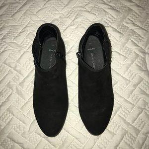 Black booties with zippers